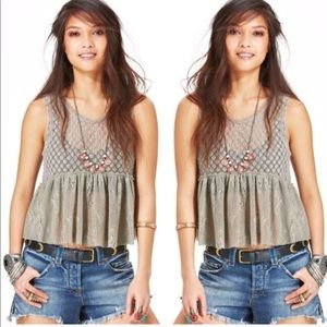Free people lace peplum lace sheer tank size large